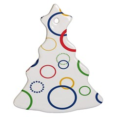 Circle Round Green Blue Red Pink Yellow Christmas Tree Ornament (two Sides) by Mariart