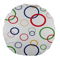 Circle Round Green Blue Red Pink Yellow Large 18  Premium Round Cushions by Mariart