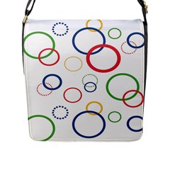 Circle Round Green Blue Red Pink Yellow Flap Messenger Bag (l)  by Mariart