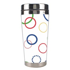 Circle Round Green Blue Red Pink Yellow Stainless Steel Travel Tumblers by Mariart