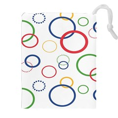 Circle Round Green Blue Red Pink Yellow Drawstring Pouches (xxl) by Mariart