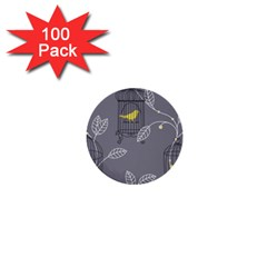 Cagr Bird Leaf Grey Yellow 1  Mini Buttons (100 Pack)  by Mariart
