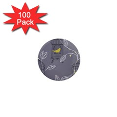 Cagr Bird Leaf Grey Yellow 1  Mini Magnets (100 Pack)