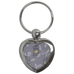 Cagr Bird Leaf Grey Yellow Key Chains (heart)  by Mariart
