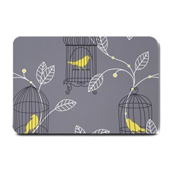 Cagr Bird Leaf Grey Yellow Small Doormat  by Mariart