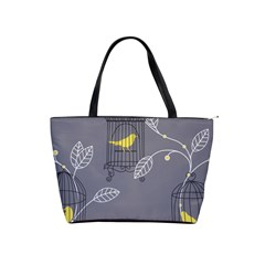 Cagr Bird Leaf Grey Yellow Shoulder Handbags by Mariart