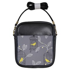 Cagr Bird Leaf Grey Yellow Girls Sling Bags by Mariart