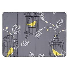 Cagr Bird Leaf Grey Yellow Samsung Galaxy Tab 8 9  P7300 Flip Case by Mariart