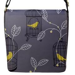 Cagr Bird Leaf Grey Yellow Flap Messenger Bag (s) by Mariart