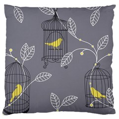 Cagr Bird Leaf Grey Yellow Large Flano Cushion Case (one Side) by Mariart