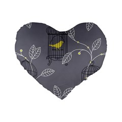 Cagr Bird Leaf Grey Yellow Standard 16  Premium Flano Heart Shape Cushions by Mariart