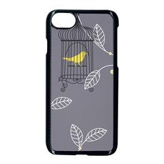Cagr Bird Leaf Grey Yellow Apple Iphone 7 Seamless Case (black) by Mariart