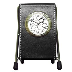 Circle Round Black Grey Pen Holder Desk Clocks by Mariart