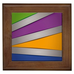 Colorful Geometry Shapes Line Green Grey Pirple Yellow Blue Framed Tiles by Mariart