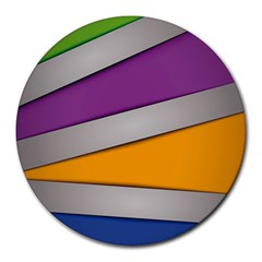 Colorful Geometry Shapes Line Green Grey Pirple Yellow Blue Round Mousepads by Mariart