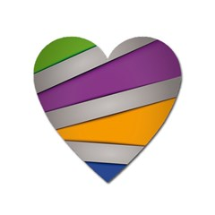 Colorful Geometry Shapes Line Green Grey Pirple Yellow Blue Heart Magnet by Mariart