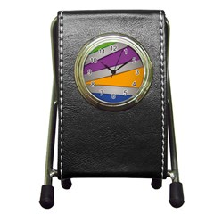 Colorful Geometry Shapes Line Green Grey Pirple Yellow Blue Pen Holder Desk Clocks by Mariart
