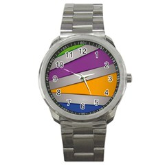 Colorful Geometry Shapes Line Green Grey Pirple Yellow Blue Sport Metal Watch by Mariart