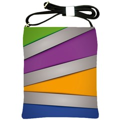 Colorful Geometry Shapes Line Green Grey Pirple Yellow Blue Shoulder Sling Bags by Mariart