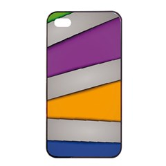 Colorful Geometry Shapes Line Green Grey Pirple Yellow Blue Apple Iphone 4/4s Seamless Case (black) by Mariart