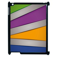Colorful Geometry Shapes Line Green Grey Pirple Yellow Blue Apple Ipad 2 Case (black) by Mariart