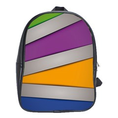 Colorful Geometry Shapes Line Green Grey Pirple Yellow Blue School Bags (xl)  by Mariart