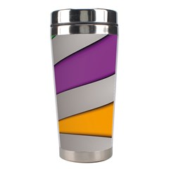 Colorful Geometry Shapes Line Green Grey Pirple Yellow Blue Stainless Steel Travel Tumblers by Mariart