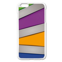 Colorful Geometry Shapes Line Green Grey Pirple Yellow Blue Apple Iphone 6 Plus/6s Plus Enamel White Case by Mariart