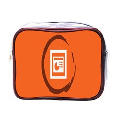Circles Orange Mini Toiletries Bags by Mariart