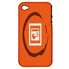 Circles Orange Apple Iphone 4/4s Hardshell Case (pc+silicone) by Mariart