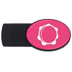Circle White Pink Usb Flash Drive Oval (2 Gb) by Mariart