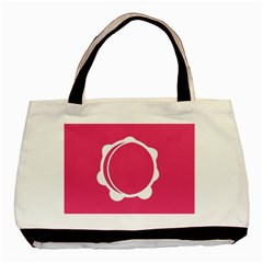 Circle White Pink Basic Tote Bag by Mariart