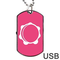Circle White Pink Dog Tag Usb Flash (two Sides) by Mariart