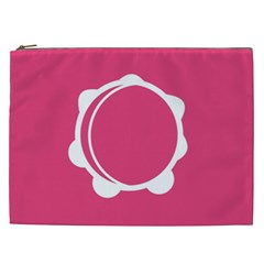 Circle White Pink Cosmetic Bag (xxl)  by Mariart