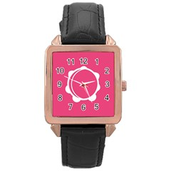 Circle White Pink Rose Gold Leather Watch  by Mariart