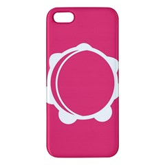 Circle White Pink Apple Iphone 5 Premium Hardshell Case by Mariart