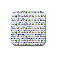 Coral Reef Fish Coral Star Rubber Square Coaster (4 Pack)  by Mariart