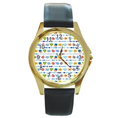Coral Reef Fish Coral Star Round Gold Metal Watch by Mariart