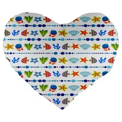 Coral Reef Fish Coral Star Large 19  Premium Heart Shape Cushions by Mariart