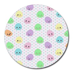 Egg Easter Smile Face Cute Babby Kids Dot Polka Rainbow Round Mousepads by Mariart
