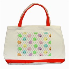 Egg Easter Smile Face Cute Babby Kids Dot Polka Rainbow Classic Tote Bag (red) by Mariart