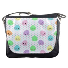 Egg Easter Smile Face Cute Babby Kids Dot Polka Rainbow Messenger Bags by Mariart