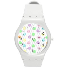 Egg Easter Smile Face Cute Babby Kids Dot Polka Rainbow Round Plastic Sport Watch (m) by Mariart