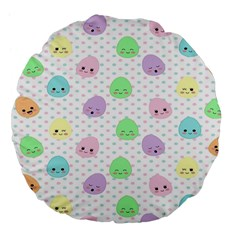 Egg Easter Smile Face Cute Babby Kids Dot Polka Rainbow Large 18  Premium Flano Round Cushions by Mariart