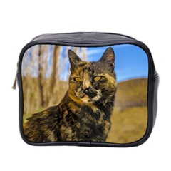 Adult Wild Cat Sitting And Watching Mini Toiletries Bag 2 Side by dflcprints