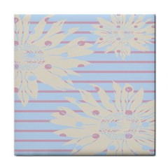 Flower Floral Sunflower Line Horizontal Pink White Blue Tile Coasters by Mariart
