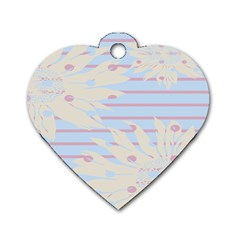 Flower Floral Sunflower Line Horizontal Pink White Blue Dog Tag Heart (two Sides) by Mariart
