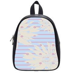 Flower Floral Sunflower Line Horizontal Pink White Blue School Bags (small)  by Mariart