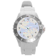 Flower Floral Sunflower Line Horizontal Pink White Blue Round Plastic Sport Watch (l) by Mariart