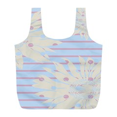 Flower Floral Sunflower Line Horizontal Pink White Blue Full Print Recycle Bags (l)  by Mariart